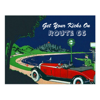 Retro Vintage Get Your Kicks On Route 66 Postcard