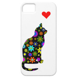 Retro Vintage Girly Cute Floral Cat with Heart iPhone SE/5/5s Case