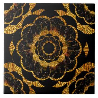 Retro Vintage Golden Mandala Flower Black and Gold Tile