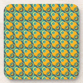 Retro vintage green and yellow overlapping circles beverage coaster