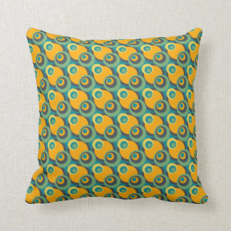 Retro vintage green and yellow overlapping circles pillow