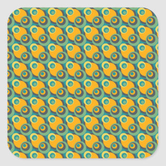 Retro vintage green and yellow overlapping circles square sticker