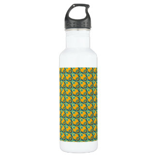 Retro vintage green and yellow overlapping circles water bottle
