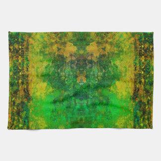 Retro Vintage Green Mosaic Pattern, TeaTowels Hand Towels