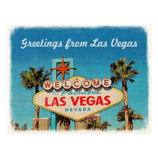 Retro Vintage Greeting from Fabulous Las Vegas Postcard