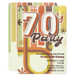 Retro Vintage Groovy 70's 1970 Seventies Party Invitation