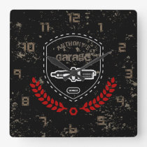 Retro Vintage Grunge Garage Square Wall Clock