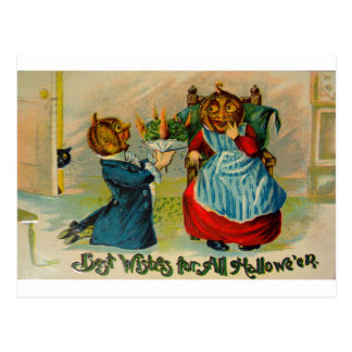 Retro Vintage Halloween Best Wishes Postcard