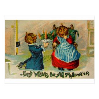Retro Vintage Halloween Best Wishes Postcard