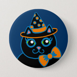 Retro Vintage Halloween Black Cat Button Pin
