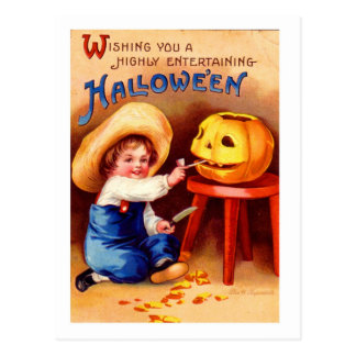 Retro Vintage Halloween Boy Carvier Postcard