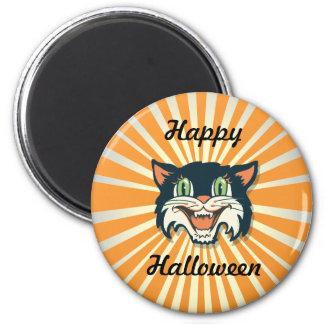 Retro Vintage Halloween Cat 2 Inch Round Magnet
