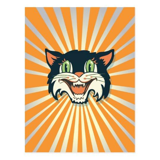 Retro Vintage Halloween Cat Postcard