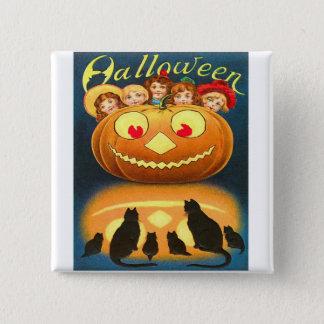 Retro Vintage Halloween Children and Cats Button