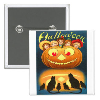 Retro Vintage Halloween Children and Cats Buttons