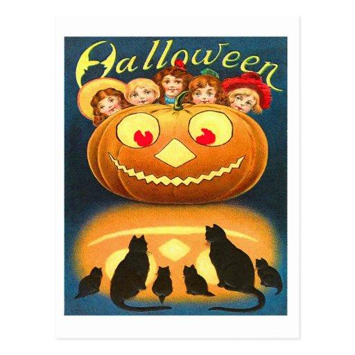 Retro Vintage Halloween Children and Cats Postcard