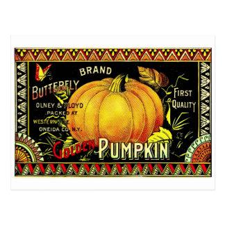 Retro Vintage Halloween Golden Pumpkin Postcard