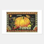 Retro Vintage Halloween Golden Pumpkin Rectangular Stickers