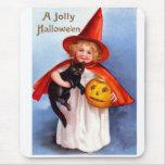 Retro Vintage Halloween Jolly Halloween Mouse Pad