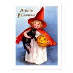 Retro Vintage Halloween Jolly Halloween Postcard