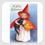 Retro Vintage Halloween Jolly Halloween Square Stickers