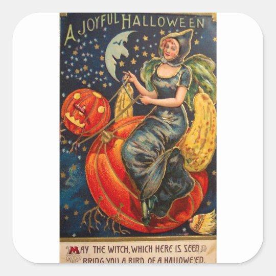 Retro Vintage Halloween Joyful Halloween Square Sticker