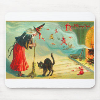 Retro Vintage Halloween Witches Have Black Cats Mouse Pad