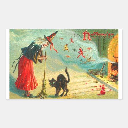 Retro Vintage Halloween Witches Have Black Cats Rectangular Sticker