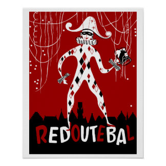 Retro vintage harlequin clown music cover poster