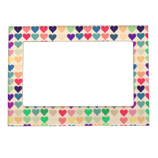 Retro vintage heart tiled heart pattern colorful magnetic photo frames
