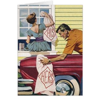 Retro Vintage His Hers Couple Housewarming Card