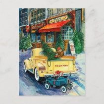 Retro Vintage Holiday truck postcard
