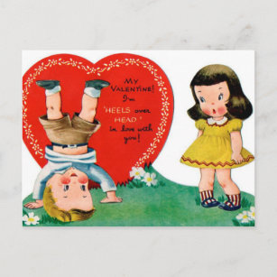 Retro Vintage Holiday Valentine couple postcard