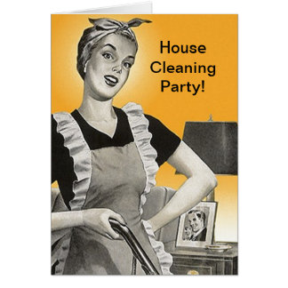 Retro Vintage House Cleaning Party Shower Cards