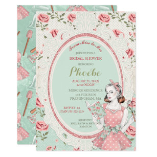retro vintage housewife 50s bridal shower invitation