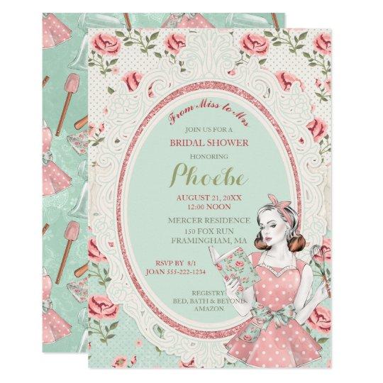 Retro Vintage Housewife 50's Bridal Shower Invitation