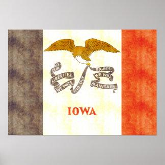 Retro Vintage Iowa Flag Print