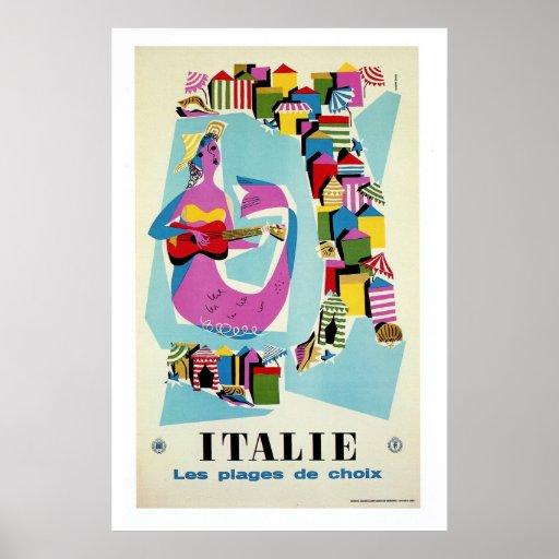 Retro vintage Italy Italian travel advertising Poster