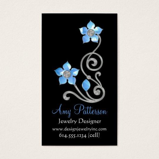 Retro Vintage Jeweled Blue Design Business Card