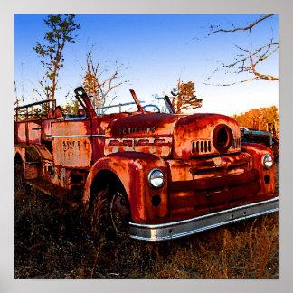 Retro,Vintage, Junkyard Firetruck in Field Poster