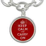 Retro Vintage Keep Calm and Carry On Charm Bracelet