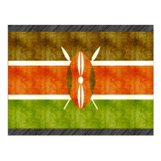 Retro Vintage Kenya Flag Postcard