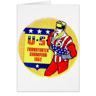 Retro Vintage Kitsch 1962 U.S Frankfurter Champ Card