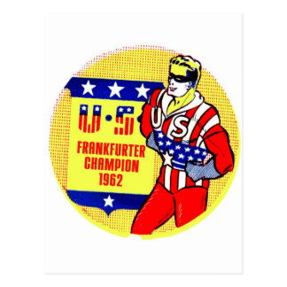 Retro Vintage Kitsch 1962 U.S Frankfurter Champ Postcard
