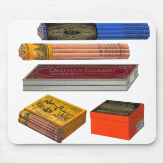 Retro Vintage Kitsch 20s Crayons Pencils Gilbert Mouse Pad