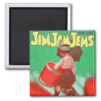Retro Vintage Kitsch 20s Jim Jam Jems Pin Up 2 Inch Square Magnet