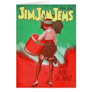 Retro Vintage Kitsch 20s Jim Jam Jems Pin Up Greeting Card