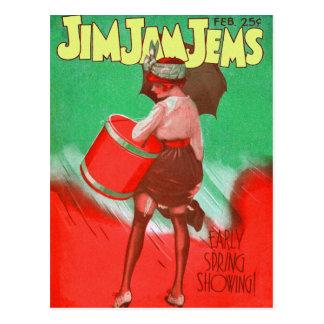 Retro Vintage Kitsch 20s Jim Jam Jems Pin Up Postcard