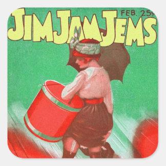 Retro Vintage Kitsch 20s Jim Jam Jems Pin Up Square Sticker