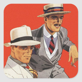 Retro Vintage Kitsch 20s Men's Fashion Ad Art Square Sticker